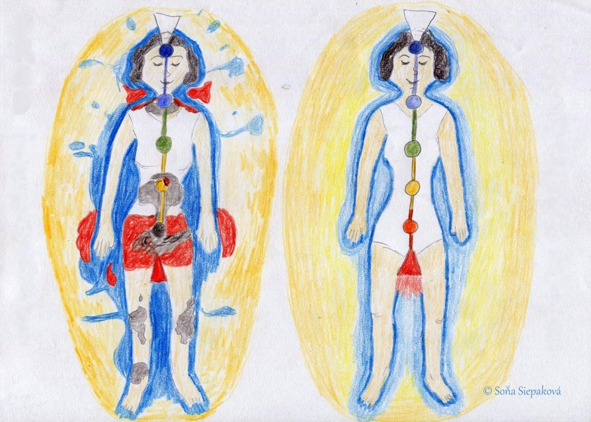 Reiki terapie před a po